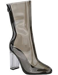 Femmes Mesdames Bottines Perspex Transparent Talon Haut Bloc Soirée Mode Chaussures Pointure