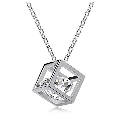 zhongleiss Halsreif Kropfband Halsketten Silber 925 Schmuck Damen Halskette Zirkon Halskette Rubik's Cube Anhänger Crystal Schlüsselbein Kette - Crystal Cube-anhänger