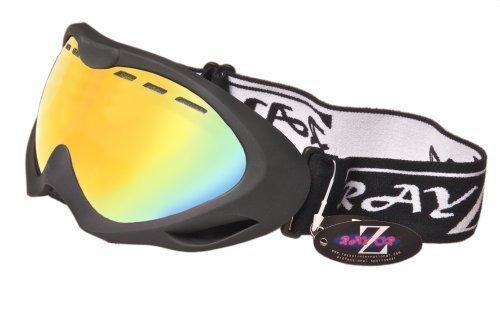 Rayzor professionnels UV400 doubles lensed ski / snowboard Lunettes, avec un cadre noir mat et un brouillard Anti enduits, ventilés Or Iridium miroir anti-éblouissement large clarté de vision Lens.