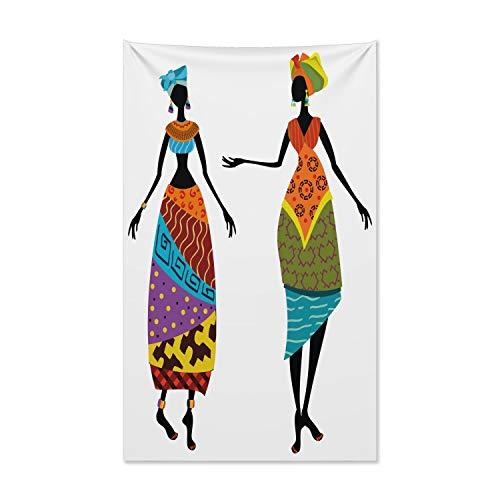 ABAKUHAUS afrikanische Frau Wandteppich und Tagesdecke, Stammes-Kostüme aus Weiches Mikrofaser Stoff Kein Verblassen Klare Farben Waschbar, 140 x 230 cm, Mehrfarbig