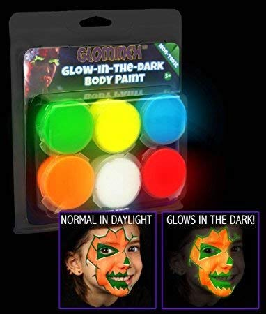 MODEOR Halloween Süßes oder Saures Glow In The Dark Körperbemalung 6er-Set für Bemalung und Kostüme