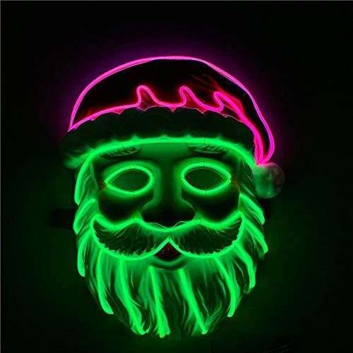 Einzigartige Santa Kostüm - Santa LED Maske, Cosplay Kostüm im dunklen Kaltlicht Xmas Party Festival,A