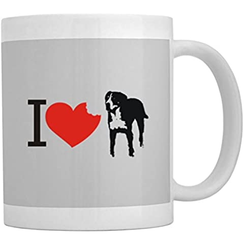 Teeburon I love Greater Swiss Mountain Dog SIlhouette Tazza