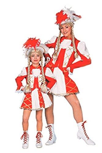 Tanzmariechen Kostüm Kinder Mädchen Rot Weiß (ohne Hut) Tanzgarde Komitee Kleid Showtanz Karneval Fasching Hochwertige Verkleidung Größe 116 ()