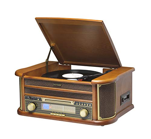Denver Vintage Wood 5-in-1 Music Centre - Record Player, CD Player, Cassette, Radio, USB record