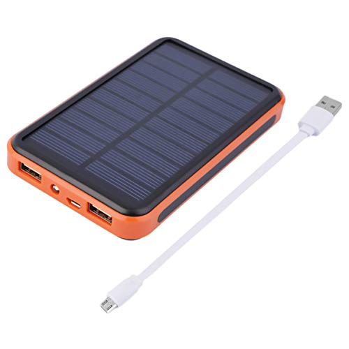 Power Bank, Super Thin Large Capacity Waterproof Portable Solar Power Bank  Dual USB Solar Charger for Mobile Phones Compact Lightweight