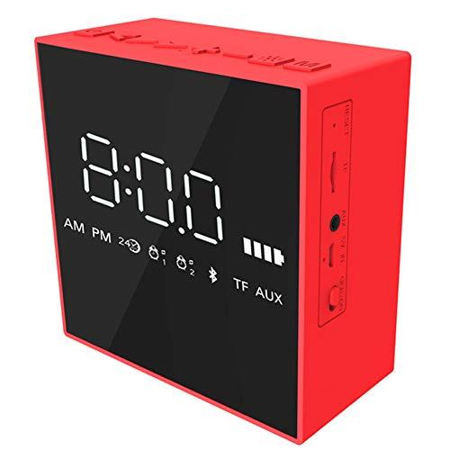 Bluetooth-Lautsprecher Home Office Spiegel Wecker Tragbare TF-Karte AUX-Lautsprecher Mobiler Computer Subwoofer Schwarz,Red - Nicht Hell Wecker Zu