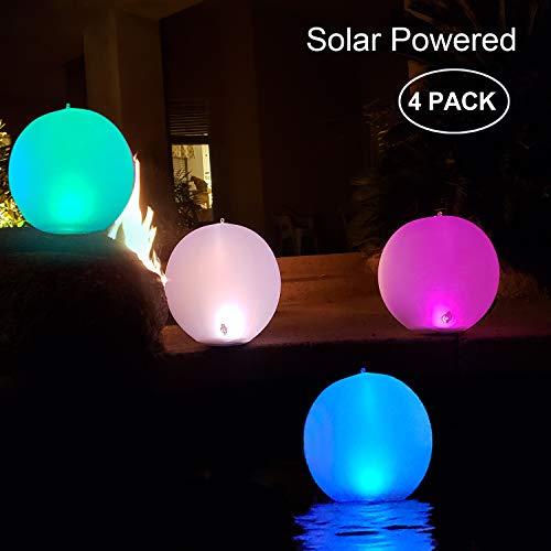 Solarlampen für außen,14\'\' LED Solar Gartenleuchte Kugel Schwimmkugel Wasserdichte IP68 LED Solarlichter Aufblasbare Solar Glow Globe Kugel Solarlampe/Außenleuchte/Gartenlampe/Kugelleuchte (4PACK)
