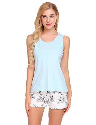 Zweiteiliger Schlafanzug Damen Kurz Pyjama Set Schlafanzüge Baumwolle Nachthemd aus Unifarben Hausanzug Oberteil und Blumen Shorts (Pyjama Set Blumen-print)