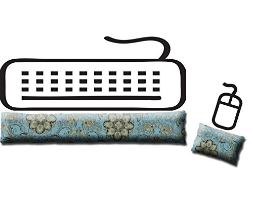 Candi Andi Ergonomisches Tastatur- und Maus-Handballen-Set, handgefertigt vom Desktop, Laptop, Leinsamen, gefüllt, Satinbrokat und Pannesamt, Lavendelduft oder geruchlos UNSCENTED blue lagoon -