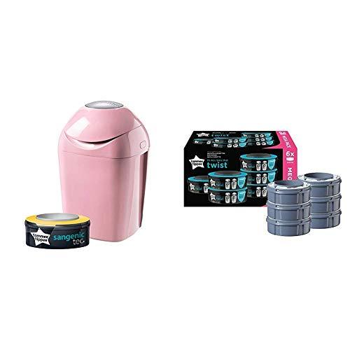 Tommee Tippee Sangenic Tec - Contenedor de pañales, color rosa + Recambios Sistema avanzado para desechar pañales Twist & Click, paquete de 6