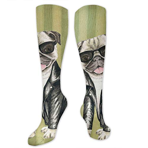 Kotdeqay Dog Wearing Sunglasses Women&Men Socks Dress Socks Length 19.7in/Width 3.4in Polyester Material Knee High Socks Girls