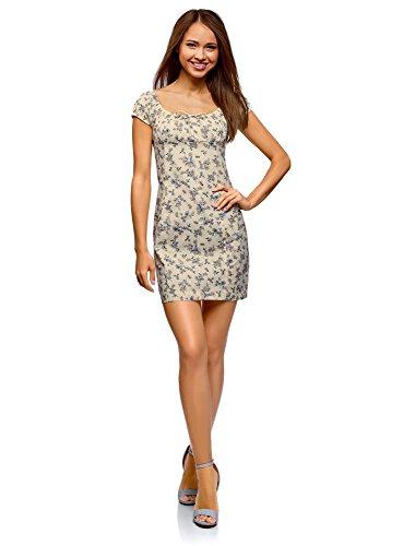 oodji Ultra Damen Baumwoll-Kleid mit Raffungen auf der Brust, Elfenbein, DE 36 / EU 38 / S