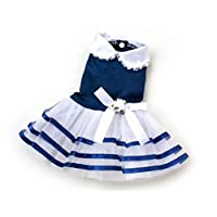 smalllee_lucky_store Girls Satin Flower Pet Small Dog Princess Dress Striped Tutu Skirts Cat Puppy Clothes Wedding Party Costume,Large,Blue