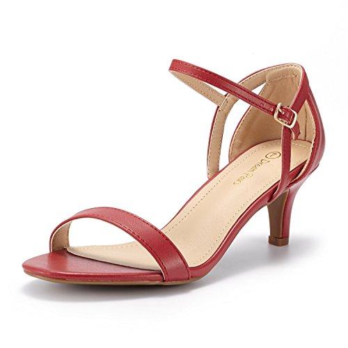 Dream pairs lexii sandali tacco moda spillo punta aperta pu per donna rosso 38.5 eu