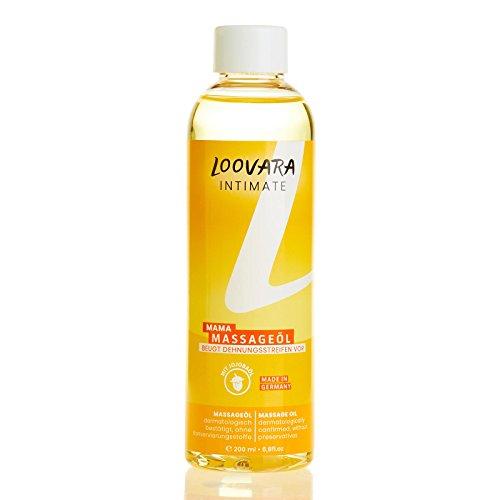 Loovara Mamá aceite de masaje (200 ml) con aceite de Jojoba y aceite de Almendra para prevenir las Estrías y para el masaje Perineal durante el Embarazo, Made in Germany