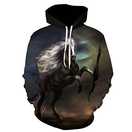 Tasche Kostüm Von M&ms - 2019 Herren Sweatshirt Hoodie Herren 3D Hoodies Wildes Pferd, Pferd, Tier, 3D Digitaldruck Langarm M-S