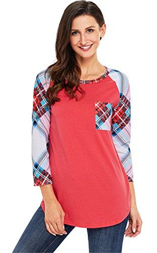 Maniche a 3/4 Raglan Sleeve Plaid percalle Tartan Quadretti a Quadri Patchwork a blocchi di colore Baseball T-Shirt Maglietta Tee Top Rosso