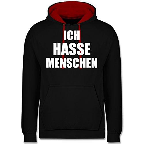 Statement Shirts - Ich Hasse Menschen - M - Schwarz/Rot - JH003 - Hoodie zweifarbig und Kapuzenpullover für Herren und Damen