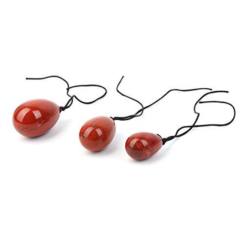 Preisvergleich Produktbild 3pcs Natürliche Rote Jaspis Yoni Ei Kegel Übung Massagegerät Für Frauen Gesundheitswesen