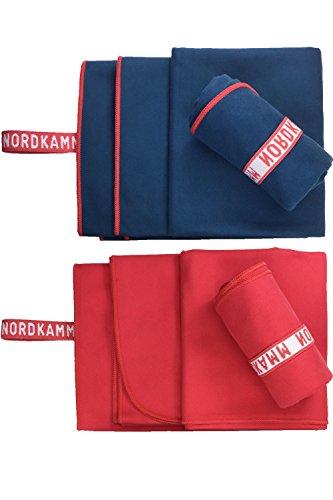 Da-lite 150 (NORDKAMM – Mikrofaser Handtuch Set blau, ultraleicht, Microfaser Handtuch Reise Set, Handtuch klein 50x100, groß 70x150, blau oder rot inkl. Tasche, schnelltrocknend, für Yoga, Sport, Outdoor, Trekking)