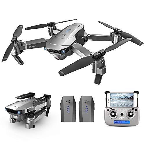Goolsky SG907 5G WiFi 4K RC Drohne mit Dual Kamera GPS Optical Flow Positionierung MV-Schnittstelle Follow Me Geste Fotos Video RC Quadcopter mit 2 Batterie
