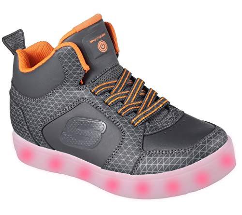 Skechers Jungen Energy Lights Tarvos Sneaker, Grau (Charcoal/Orange), 33 EU -