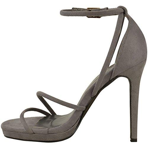 Scarpe Donna Barely There Sandali Stiletto A Strappo Scarpe Da Festa Misura Grigio Finto Scamosciato