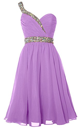 MACloth Gorgeous One Shoulder Short Prom Homecoming Dress Formal Party Gown Lavande
