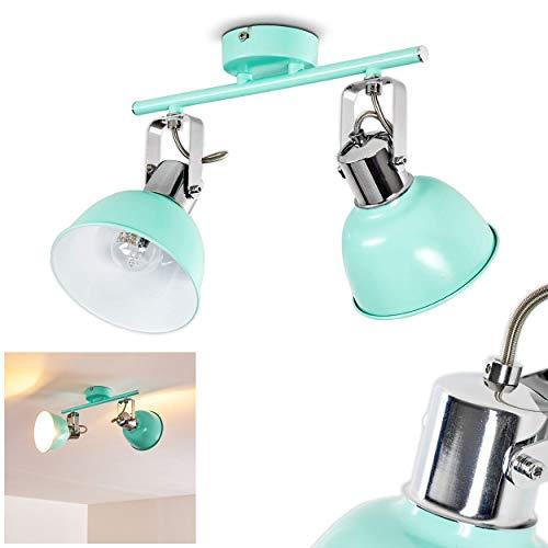 Deckenleuchte Borik, Deckenlampe aus Metall in Mint/Weiß, 2-flammig, mit verstellbaren Strahlern, 2 x E14-Fassung max. 25 Watt, Spot im Retro/Vintage Design, für LED Leuchtmittel geeignet