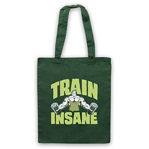 Train Insane Gym Workout Slogan Umhangetaschen Dunkelgrun
