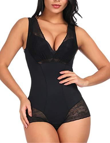 SELUXU Damen Body mit Spitze, figurformend, einteilig, sexy - schwarz - Mittel -