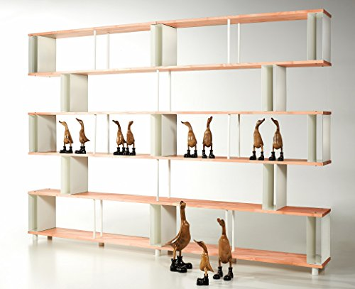 Skaffa Bücherregal SKAFFAWOOD RANDOM MASSIVHOLZ kombinierbare Regal Wand Design Einlegeböden Made in ITALY cm. H 211 X 300