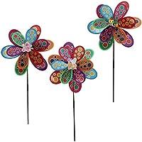 Baoblaze 5pcs Molinillos de Viento Modelo de Flores de 2 Capas con Abeja Plástico Colorido Juguete