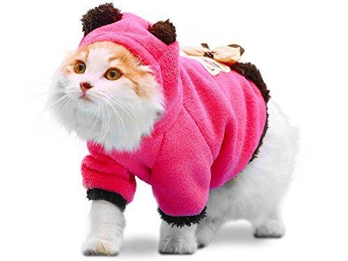 PLS Pet Halloween Hoody für Katzen, Kapuzenpullover für Hunde, Winter Hundemantel, Hund Kostüm, Katze Kostüm, schützt vor kaltem Wetter, Halloween Verkauf, Medium, Rosarot