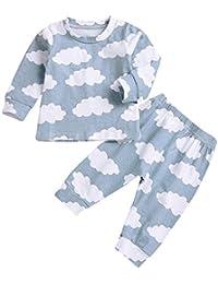 2pcs / Set Baby Kids Toddler Cloud Pattern Outfits Conjunto Home Wear Vestido de Manga Larga con Cuello Redondo Camisa + Pantalones
