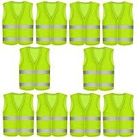 10 Gilet de Securite Infroissable jaune fluo   Lot de Gilets de Sécurité réfléchissants à 360 degrés KFZ EN471   Lavable en Machine
