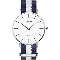 Sinobi Mens Watches Sports Casual Simple Design Fashion Dress Nylon Band Quartz Analogue Wrist Watch