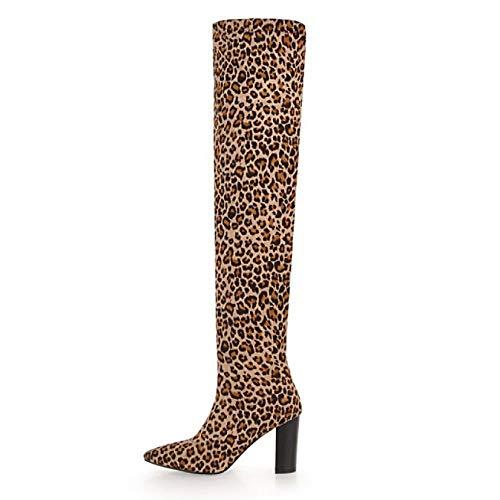 Damen Sexy Hohe Stiefel Overknees Oberschenkel Hoch Damen Stretch Blockabsatz Mid Heel Stiefeletten,Leopard-EU:41=10B(M) US -