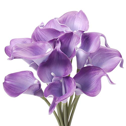 Gemdragon Unechte Blumen,Künstliche Deko Blumen Gefälschte Blumen Seiden Plastik Calla-Lilie Braut Hochzeits blumenstrauß für Haus Garten Party Blumenschmuck 12 Stück (Lila) (Blumenstrauß Lila Blumen)