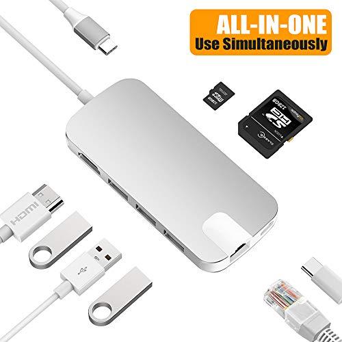 Snowkids USB C Hub USB C Adapter mit USB C Ladeanschluss,Micro SD-Kartenleser,RJ54 Gigabit Ethernet,HDMI 4K,3 USB 3.0 Ports für Laptop MacBook2016/2017,MacBook Pro,Mac Mini,Chromebook und mehr-Silber