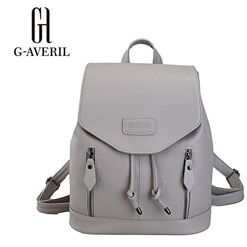 25a8932bbeac9 GAVERIL Damen Leder Rucksack Handtaschen Damen Tagesrucksäcke  Mädchengymnasium Grau