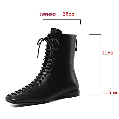 QPDUBB Ankle boots Autumn Ankle Motorcycle Boots Women Square Toe Cross Tied Booties Woman Casual Cow Leather Shoes Female Zip Flat Shoes