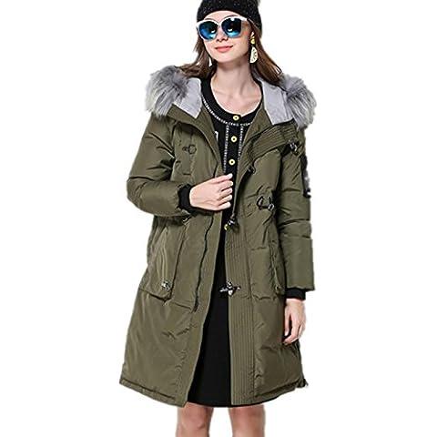 XYXY Las mujeres de encapuchados chaqueta con capucha guarnecido de piel sintética desmontable . army green . xxxl