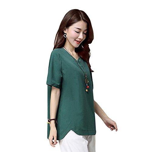 Zhuhaixmy Damen V-Neck Baumwolle Leinen Kurze Hülse Bluse Sommer Loose T-Shirts Tops Green