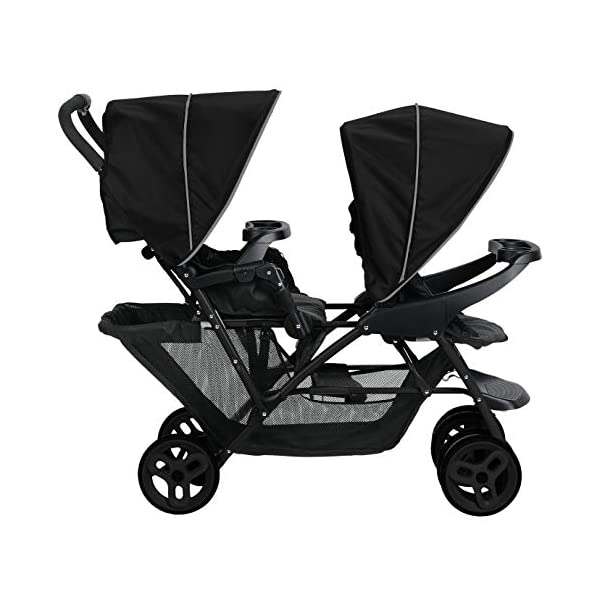 Graco Stadium Duo Click Connect Tandem Pushchair, Black/Grey Graco Compatible with all graco click connect car seats, which can be easily added to the tandem chassis with just one click. Folded-Length:66cm, Height: 109cm Convenient one-hand standing fold, featuring an automatic storage latch that folds effortlessly. Maximum weight capacity is 15 Kg. Stadium-style seating positions with slightly higher rear seat, so that both children can see the world around them 2