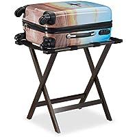 Relaxdays–Maletín Soporte Plegable, bambú, para Maleta maletín y Equipaje, Caballete, hxbxt: 53,5x 58x 36,5cm, Color marrón Oscuro