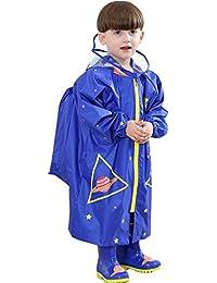 Niños Chubasquero Niños Niñas Traje de Lluvia Impermeable Chubasquero Poncho con colegio mochila posición