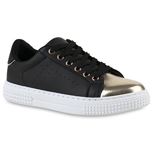 Sneakers Low Damen Lack & Glitzer Turnschuhe Freizeit Schuhe Schwarz Metallic