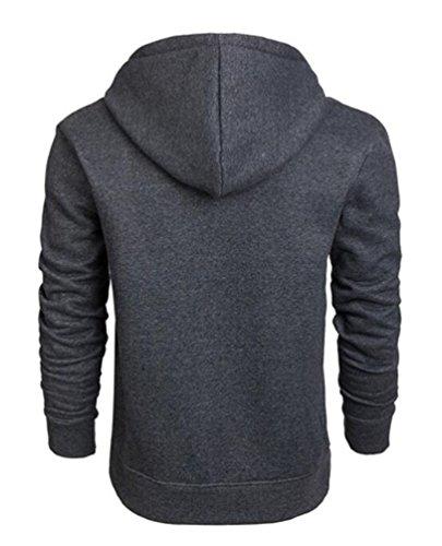 Brinny Herren Kapuzenpullover Hoodie mit Tasche - Pullover Kapuze Sweatjacke Sweatshirt Langarm WY03-Dunkelgrau